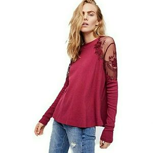 NWT Free people Daniella wine top S
